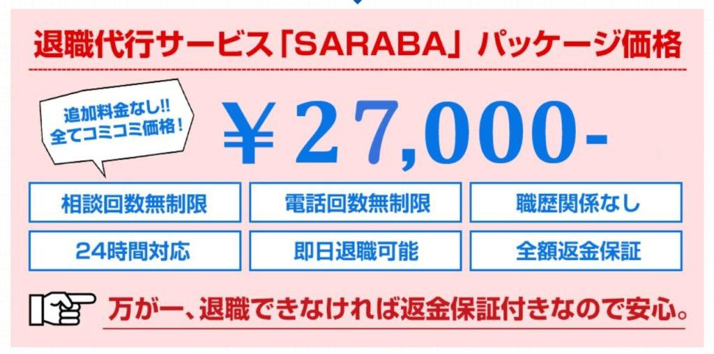 退職代行SARABA料金イメージ